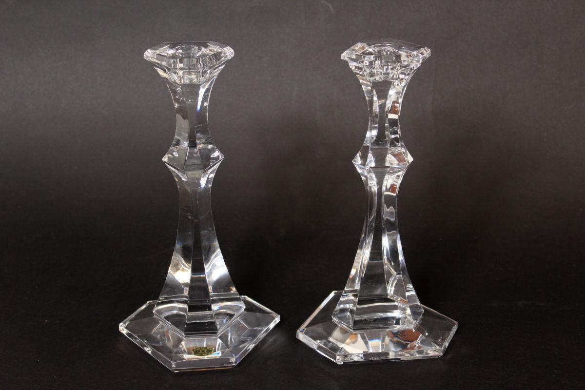 Pair Of Val St Lambert Crystal Candlesticks