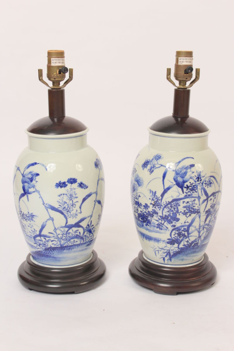 Pair Of Asian Blue And White Porcelain Lamp Bases