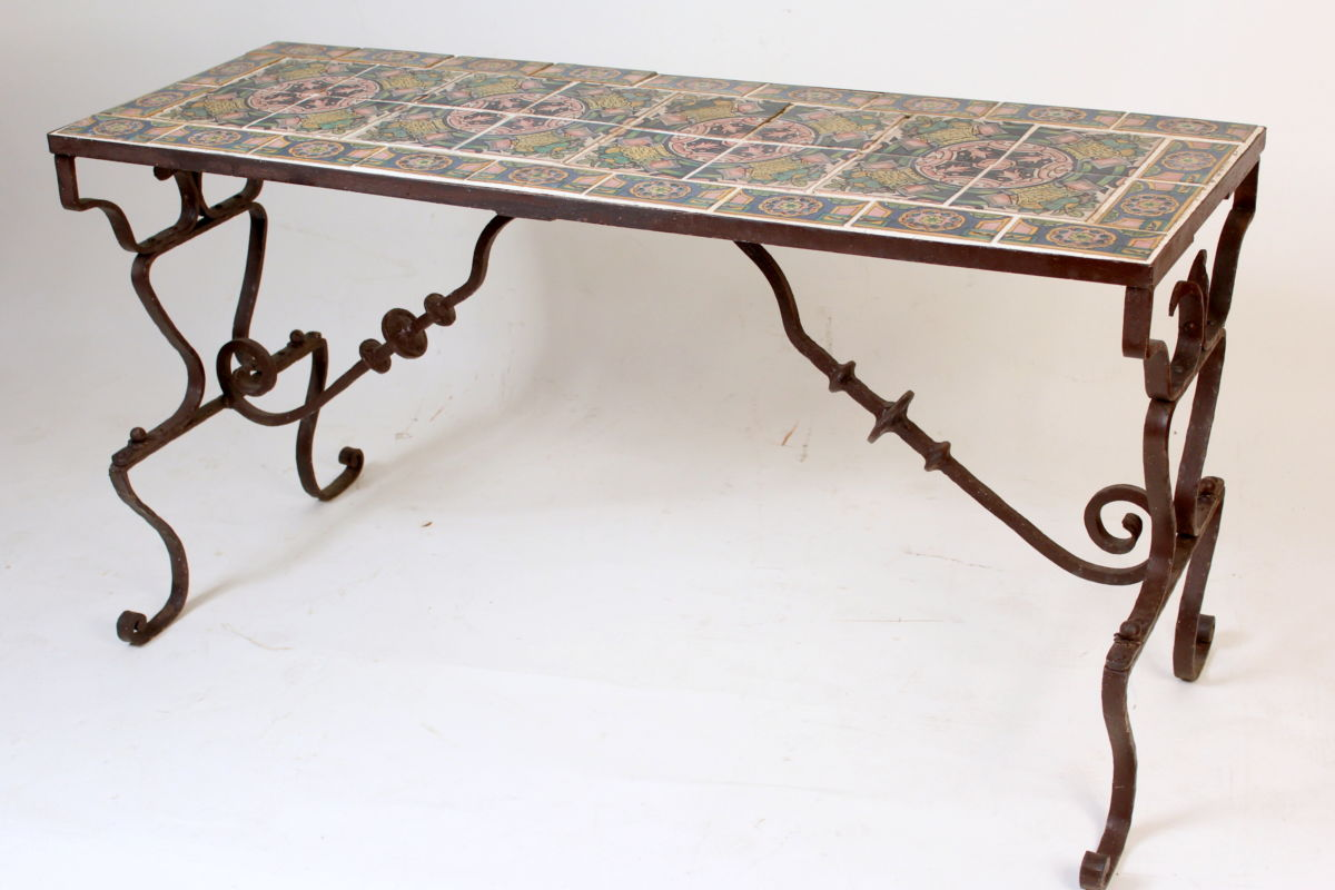 Wrought Iron Patio Table With Spanish